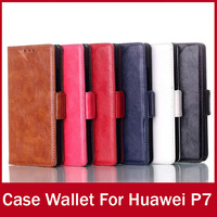 New Cover For Huawei Ascend P7 Case With Credit Card Crazy Horse Leather Wallet Designed For Huawei P7 Cellphone Stand Holster