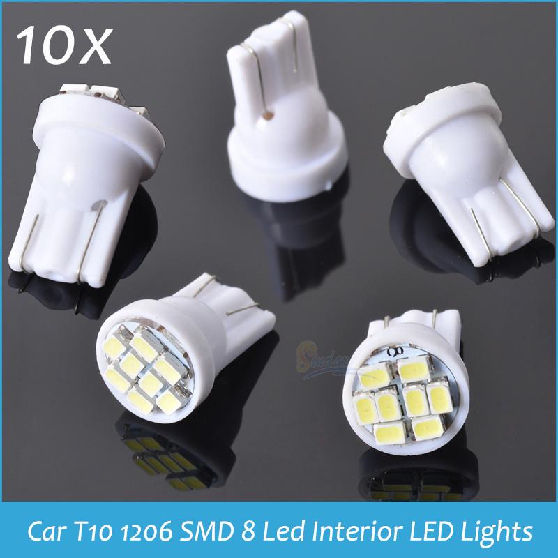 10x Auto Led light T10 8 leds 8SMD led Lamp 194 168 192 W5W 1206smd light bulb lamp Clearance LED lights Freeshipping(China (Mainland))