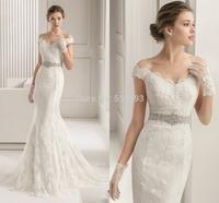 Romantic New Design V-neck with Short Sleeves Crystal Beaded Waistline Organza Mermaid Wedding Dresses 2015 Lace