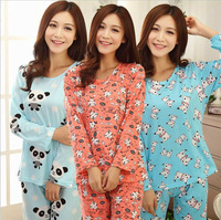 New 2014 Autumn Winter Women's 100% Cotton Lovely Character Panda Pajamas Sets Long Sleeve Sleepwear Nightwear Home Clothes
