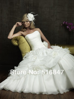 2014 New Fashion Long Flowers Lace Up White/Ivory Organza Ball Gown Bridal Gown Wedding Dresses Custom Size