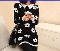 Plum blossom Lapel long-sleeved Knit sweater Autumn Winter 2014 New W3369