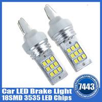 2pcs a lot High Quality New T20 7443 18-SMD 6000K White 3535 LED Chips Car Brake Tail Stop Turn Light