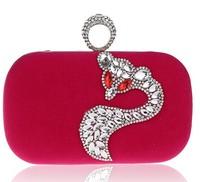 Newest Women's Cartoon Fox Diamond Ring Evening Bag Corduroy Clutch Handbag Shiny Wedding Velvet Day Clutches Bags 0619