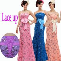 2015 new Plus size long strapless paillette lace up bridesmaid dress lace flower fish tail bandage party dresses