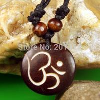Tibet Ethnic Yak Bone Carved Man Run Pendant Necklace