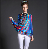 M32903 free shipping high degree new design 100% authentic silk women blouse