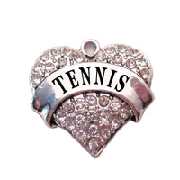 multicolor!  free shipping 100pcs a lot  rhodium  plated  fashion  TENNIS  Crystal Heart Pendant accessories