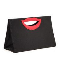 Personalized Women's Handbags Cloth Fabric Lip Tote Black Women Bolsas Femininas Canvas Bag Free Shipping WJ1043