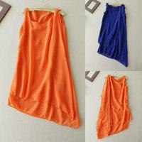342 New 2014 Spring Summer women casual special irregular lap Chiffon Dress Fashion o-neck Collar Sleeveless Ruffle mini dress