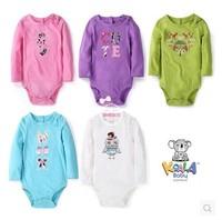 Retail, Koala Baby Girls Embroidered Long Sleeve Princess Bodysuit ,Girls Cute Roomper Freeshipping