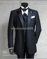 2014 - Groom Tuxedos Best man Suit Wedding Groomsman/Peak Lapel Bridegroom (Jacket+Pants+Tie+Vest) G416B