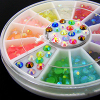 12 Colors 3D Nail Art Multicolor Illusion Glitter Rhinestone +Wheel  2014 New free shipping