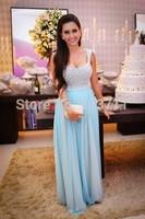 Fashionable A-Line Cap Sleeves Chiffon Floor Length Beaded Elegant Evening Dresses for Pregnant Women