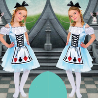 Kid Style Alice in the wonderland Costume Maid Cosplay for Children Alice Personality Poker Maid Costume for Halloween