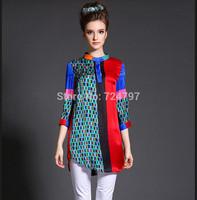 M32904 free shipping high degree new design 100% authentic silk shirt women