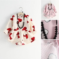 New arrive 2014 hot autumn korea children clothing,baby  girls cartoon dress with necklace high quality kids clothes lolita girl
