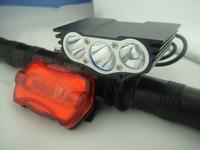Free shipping 6000 Lumen 3x CREE XM-L U2 LED Head Front Bicycle bike HeadLight Lamp Light Headlamp 8.4v battery Charger Mount