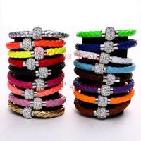 Free Shipping 17 Color 10Pcs TOP Quality PU Leather Charm Bracelet Handmade Shamballa Bracelet Magnetic Clasp Wholesale(B00116)