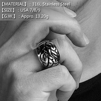 [316L] Unisex Vein Retro Man Ring, 316L Stainless Steel Punk Ring in USA Size 7/8/9,Black Metal Man Jewelry,Never Fade