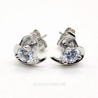 Elegant Lady Rhinestone Sweetheart Ear Stud Earring, Crystal Silver Plated Studs Earrings Earing Y50 MPJ235#M5