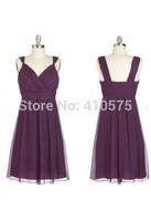 Real Pictures A-Line Princess V-neck Grape Chiffon Short Bridesmaid Dress With Ruffle HWGJCBD4