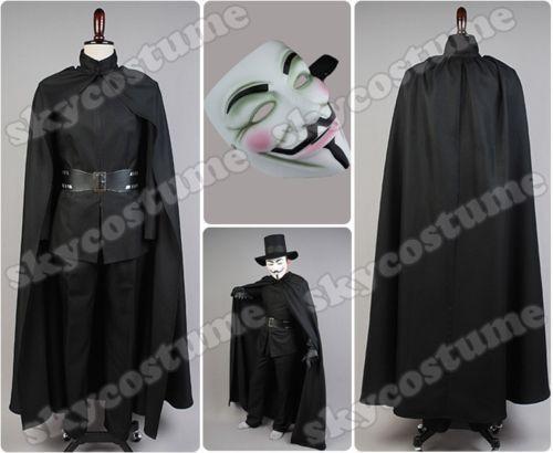 V for Vendetta Guy Fawkes Cosplay Costume Set Jacket Pants Belt Cape Hat