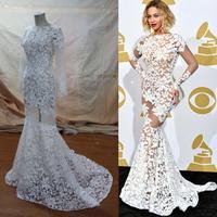 2014 Mermaid 56 grammy awards vestidos Backless Beyonce Sheer Celebrity Dresses real