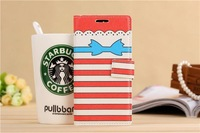 Red  stripe blue bowknot  Design Cartoon style Flip Cover with card packet stand Case for Xiaomi M4 mi4  Free shipping