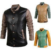 828Autumn/Winter New arrivals Korean men's colorful spliced faux leather coat fashion wild slim jacket