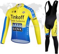 2014 SAXO BANK Tinkoff Thermal Fleece Cycling Jersey bib kit long Sleeve bib pants Cycling thight ropa Ciclismo fitness clothes