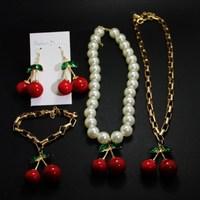Japan vivi magazine mortgage contains ultra- stylish models sweet cherry pearl necklace earrings bracelet full set