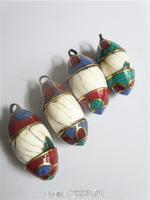 TBP749  Tibetan brass capped natural Conch shell amulet pendants Tibet shell vintage drop pendants