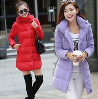 Lanluu Fashion Candy Colors Winter Parkas Detachable Hat Long Slim Women Cotton Down Coats NM585
