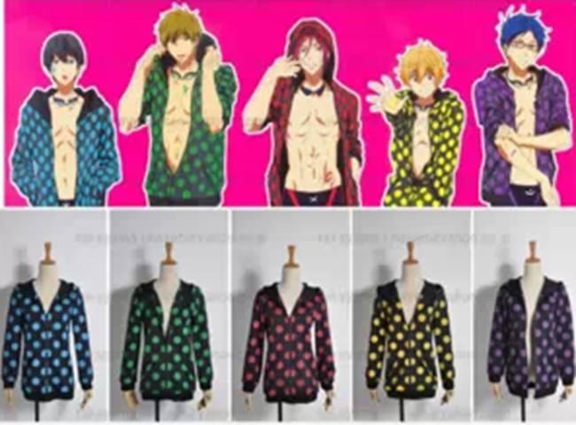 Anime Free! Iwatobi Swim Club Rei Ryugazaki Cospaly Custome Jacket Coat Hoodie Sprotwear(China (Mainland))