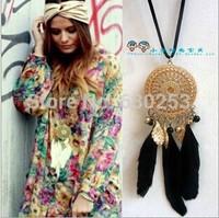Fashion Retro Dream Catcher Pendant Long Chain Necklace Sweater Chain Jewelry