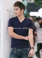 New Brand High Quality Men's 100% Cotton Men Clothing Short  V NECK T shirts Sport Leisure Top T-shirt free shipping