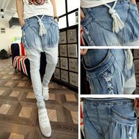 2014 New Brand Designer Mens Hip Hop Skinny Ripped Hole Jeans Man Harem Denim Pants Male Low Drop Crotch Pant Men,Free Shipping