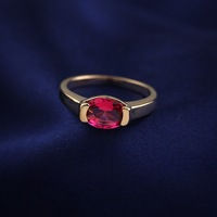 Italina Rigant Red Oval Zircon CZ Gems Fashion 18K Gold Plated Micro Setting Wedding Bands For Women