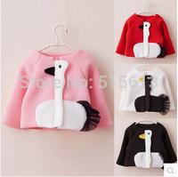 2014 new autumn baby girl jackets with space cotton kids girl cartoon cute swan outwear children zipper cardigan clothings