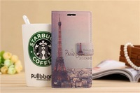 Romantic Paris Night Eiffel Tower  Design Cartoon style Flip Cover with card packet stand Case for Xiaomi M4 mi4  Free shipping