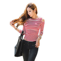 Sexy Style Korean Autumn New Arrival Slim Thin Off Shoulder Long Sleeve Striped Cotton T-shirt Skinny Brief Shirt Female 01801