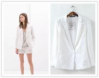 Fashion Women's blazers famouse brand 2014 autumn women blazer cotton chiffon patchwork coat white YG576