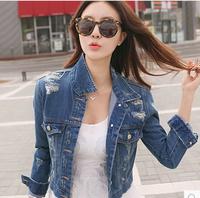 Free Shipping Autumn Personalized Female Outwear Hole Denim Short Jacket Show Thin Long Sleeve Denim Shirt Coat  #21515