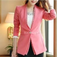 Fashion 2014 Slim Women Blazer Solid Crystal V-neck Female Suit Jacket OL Elgant Ladies Autumn Desigual Brand Coat W039