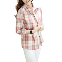 Preppy Style Korean Slim Wild Cotton Plaid Blouse Women Autumn Arrival Turn-Down Collar Single Breasted Fresh Style Shirt 2412