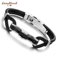 [Landlord] New Arrival Fashion Men jewelry Best Gift 316L Stainless Steel Men Bracelet Genuine Silicone Bracelets Bangles PH523