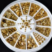 Hot Sale 5 Sizes Nail Art Decoration DIY 3D Acrylic Glitter Gold Rhinestone tools sticker