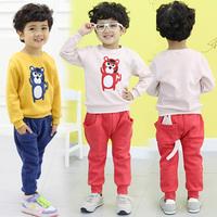 New fashion baby girls boys cartoon cat clothing sets kids casual sets child sweatshirt trousers set children clothing