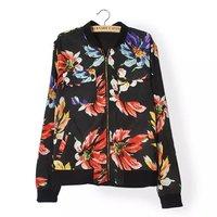2014 new woman fashion flowers prints pockets standing collar zipper closure bomber jackets 330522